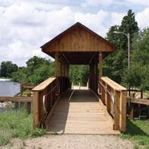 Engineered wood structures bridge