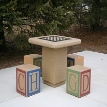 chess-board outdoor chess table
