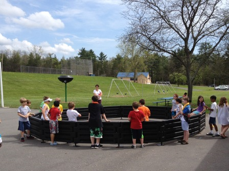 Gaga ball pit with stands