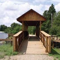 Engineered wood structures bridge